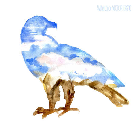 Watercolor silhouette of a eagle with a mountains scenery: snow-capped mountain peaks, ridges, sky, clouds, sun
