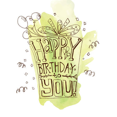 poppers: Font hand drawn composition for a birthday invitation with a gift with a bow and balloons