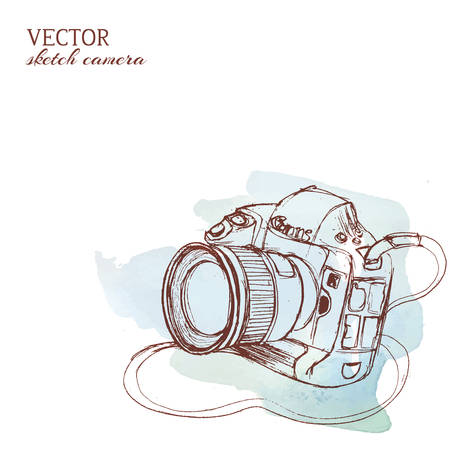 Sketchy rough vector camera with watercolor background Çizim