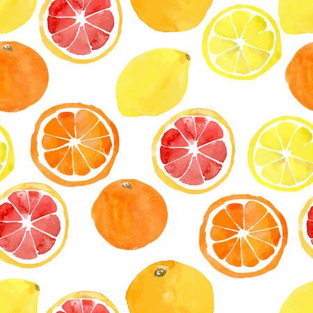Seamless pattern with vector watercolor citrus: lemon, orange, grapefruit