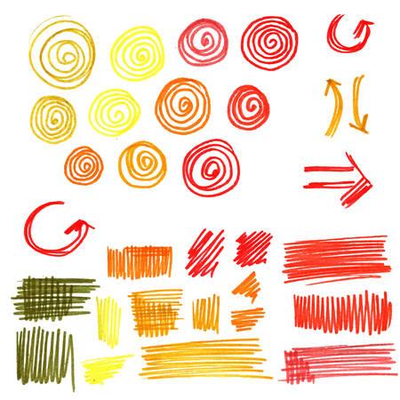 Colorful funny felt pen scribbles
