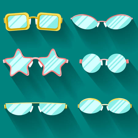 slanted: Collection of colored flat glasses with long shadows. Sprockets, round, rectangular, slanted Illustration