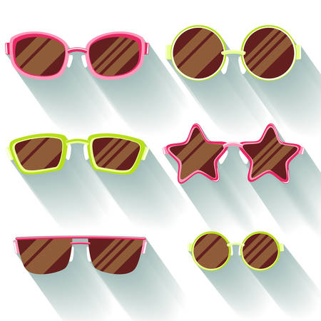 slanted: Collection of colored flat sunglasses with long shadows. Sprockets, round, rectangular, slanted Illustration