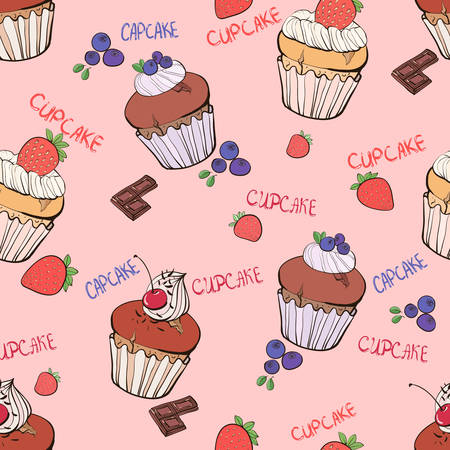 muffins: Seamless pattern with the blueberry, strawberry, cherry doodle muffins Illustration