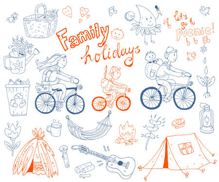 Vector set of cute doodle family and holidays. Equipment for cam