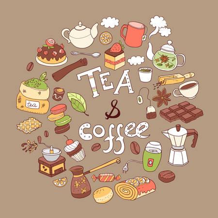 Coffee and tea_round Illustration