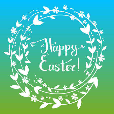 Handdrawn vector happy easter greeting card with handwritten tex