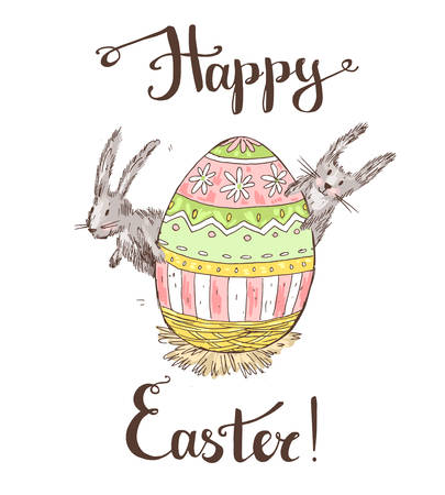 Handdrawn vector happy easter greeting card with big decorated e Illustration