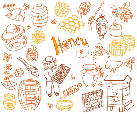 Vector honey element doodle set with beehive, beekeeper, flowers