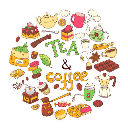 anise: Vector round illustration, doodle tae and coffee. Equipment and Illustration