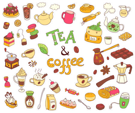 ice tea: Big vector collection of doodle tae and coffee. Equipment and de