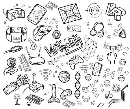 Doodle vector collection of virtual reality and innovative technology