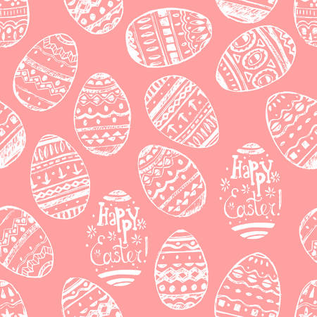 Seamless vector easter pattern with hand drawn eggs