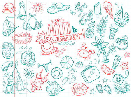 Vector cute doodle collection of summer. The sea, the ocean, the