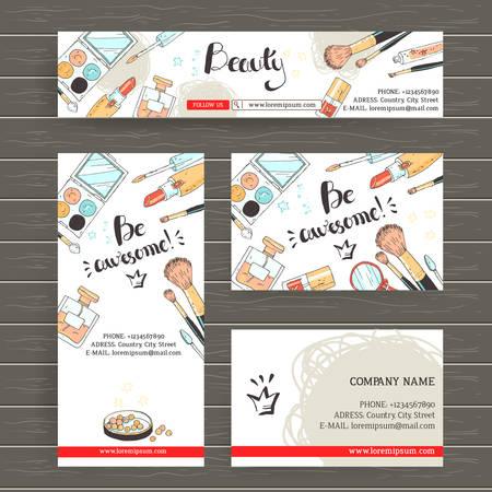 Vector klaar ontwerp sjabloon voor make-up artiest, make-up studio of cosmetica winkel. Site header, visitekaartje, brochure en flyer. Doodle stijl, pastelkleuren. Geweldig zijn