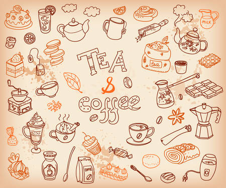 Big vector collection of doodle tae and coffee. Equipment and dessert, spoon, sweets, cake, cup, teapot, bakery and cookery. Outline. Chocolate tasty color