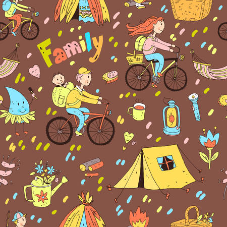 mother and baby: Vector seamless pattern with cute doodle family.