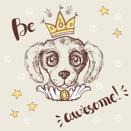 Vector funny illustration. Portrait of a dog with a crown. Illustration