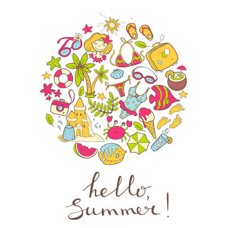 Vector cute doodle round illustration Hello summer. The sea, the