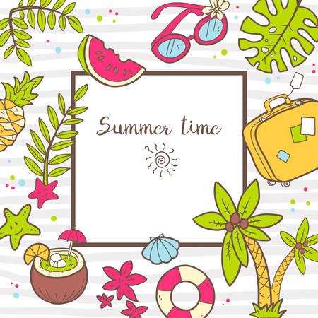 footprint sand: Vector cute doodle background Summer time. Illustration