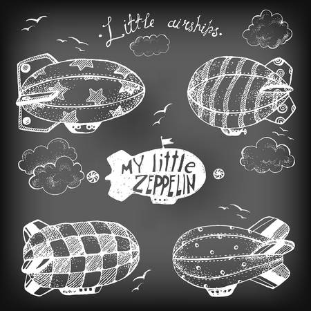 dirigible: Hand drawn vintage collection of cute little airchips wit