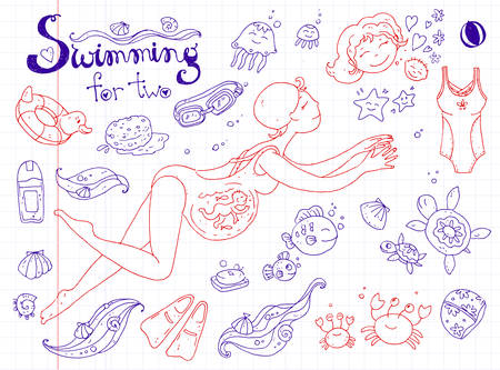 mother and baby: Vector hand drawn collection. Mom and baby. Swimming for pregnan