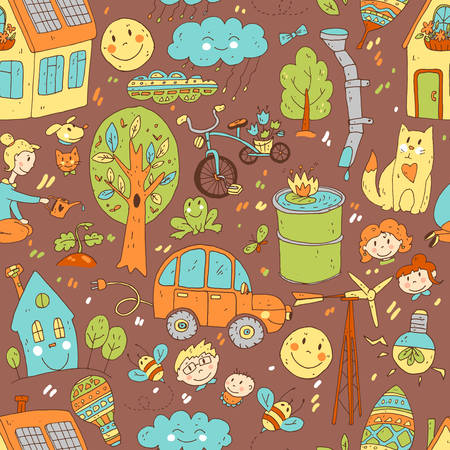mother and baby: Vector doodle cute seamless pattern of ecology and family. Illustration