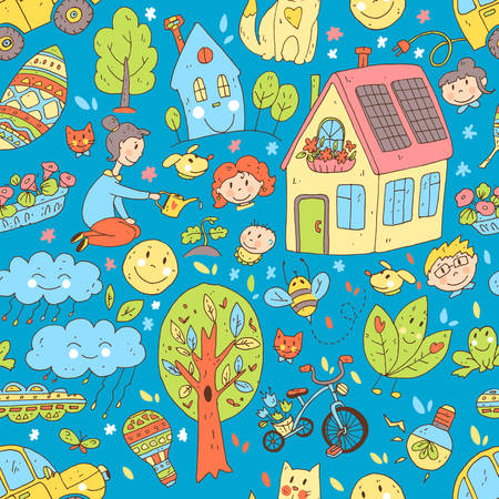 Vector doodle cute seamless pattern of ecology and family. Illustration
