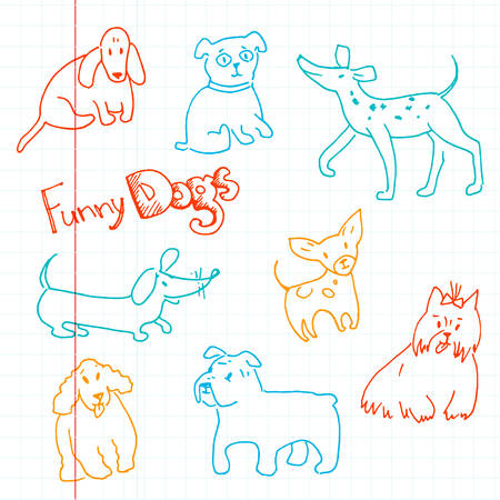 Vector hand drawn doodle collection of funny dogs. Different bre Illustration