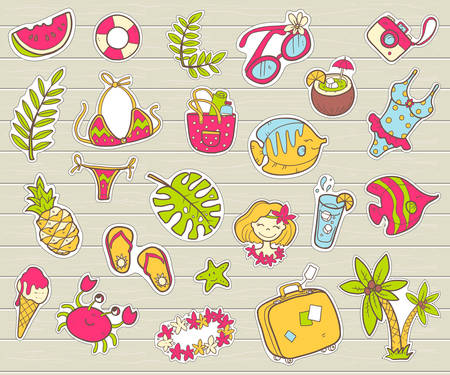 Vector cute doodle collection of summer stickers. The sea vacation, sun, fruits, desserts and adventures. Outline illustration. Bright  colors Illustration