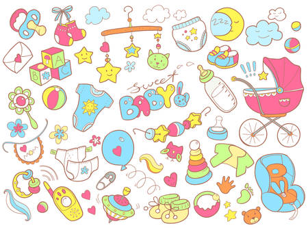 Newborn infant themed cute doodle set. Baby care, feeding, clothing, toys, health care stuff, safety, accessories. Vector drawings isolated Illustration