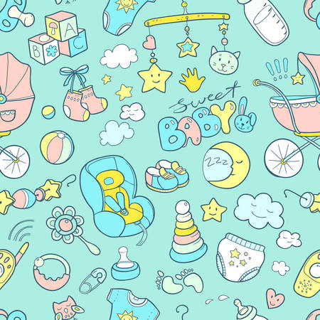 Newborn infant themed cute doodle seamless pattern. Baby care, feeding, clothing, toys, health care stuff, safety, accessories. Vector drawings isolated