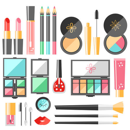 A Vector flat cosmetics set. Beauty fashion products Decorative. Illustration