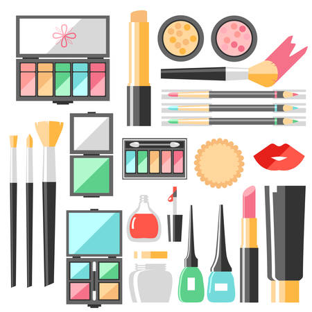 A Vector flat cosmetics set. Beauty fashion products. Decorative
