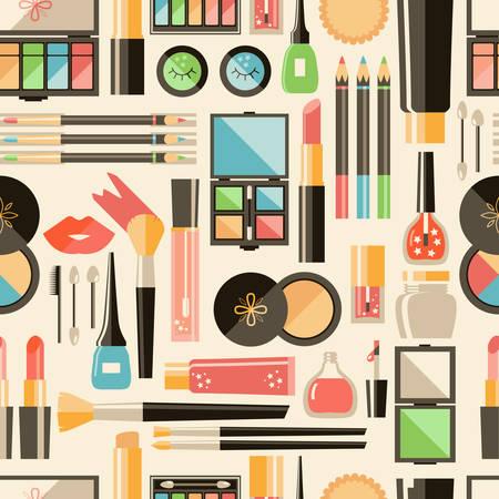 Vector flat cosmetics  seamless pattern. Beauty fashion products