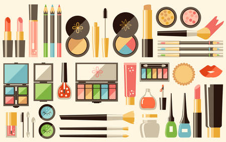 A Vector flat cosmetics set. Beauty fashion products. Decorative  illustration.