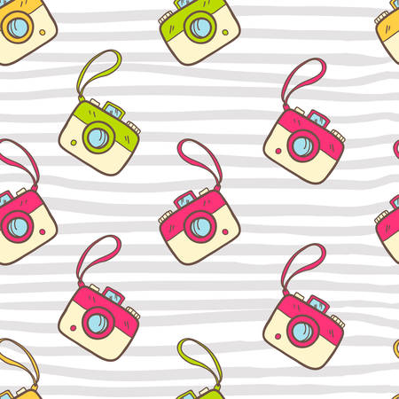 tour operator: A Vector seamless summer pattern with color photo camera. Bright  illustration. Illustration