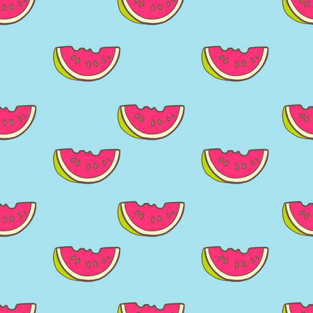 tour operator: A Vector seamless summer pattern with color watermelon. Bright cut illustration.