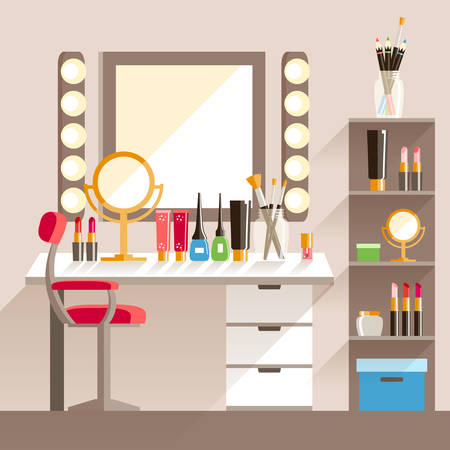 Vector flat Makeup workers workplace. Mirror, decorative cosmet