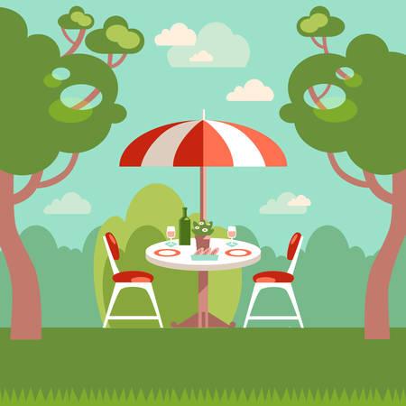 Romantic night picnic for two. Flat modern vector illustration.