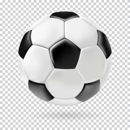 투명 한 배경 3d 축구 격리 된 공을 벡터. 현실적인 스타일.