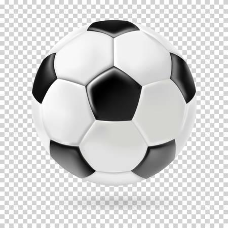 Vector 3d voetbal geïsoleerde bal op transparante achtergrond. Realistische stijl.