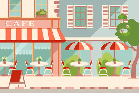 Modern flat vector horizontal illustration. Outdoor cafe in the european street, street facade. Sunny summer day. Retro colors Imagens
