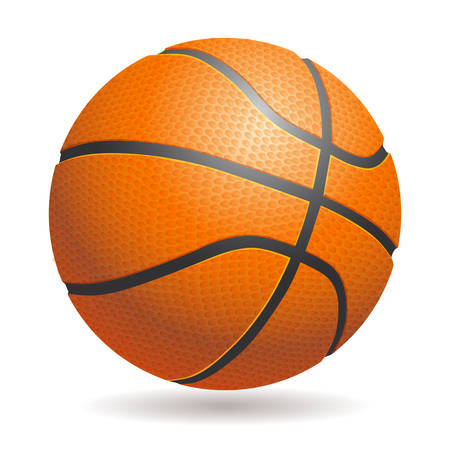 springy: Vector 3d basketball isolated ball on white background. Realistic style. Orange and black, classic.