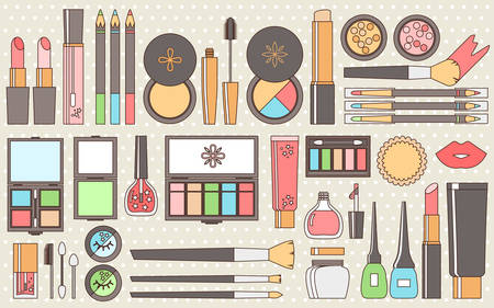 Vector flat cosmetics set. Beauty fashion products. Decorative c Illustration
