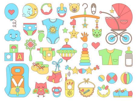 Neugeborene Säugling themed niedlichen flachen Satz. Babys Pflege, Fütterung, Kleidung, Spielzeug, Gesundheitswesen Zeug, Sicherheit, Zubehör. Vektor-Zeichnungen isoliert Sammlung Vektorgrafik