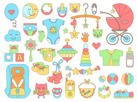 stuff toys: Newborn infant themed cute flat set. Baby care, feeding, clothing, toys, health care stuff, safety, accessories. Vector drawings isolated collection