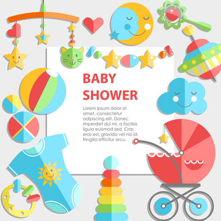 Vector flat infancy bacground. Baby products. Decoration frame, bright illustration Illustration