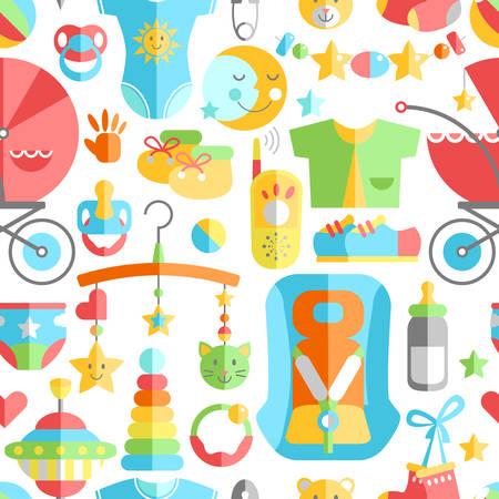 Modelo inconsútil plano lindo lindo del bebé recién nacido. Cuidado del bebé y de la infancia, alimentación, ropa, juguetes, materia del cuidado médico, seguridad, accesorios. Ilustración de dibujos vectoriales