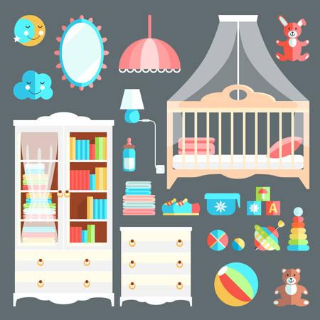 Meubles et jouets pour chambre de bébé. Couleurs mignonnes élégantes. Collectio